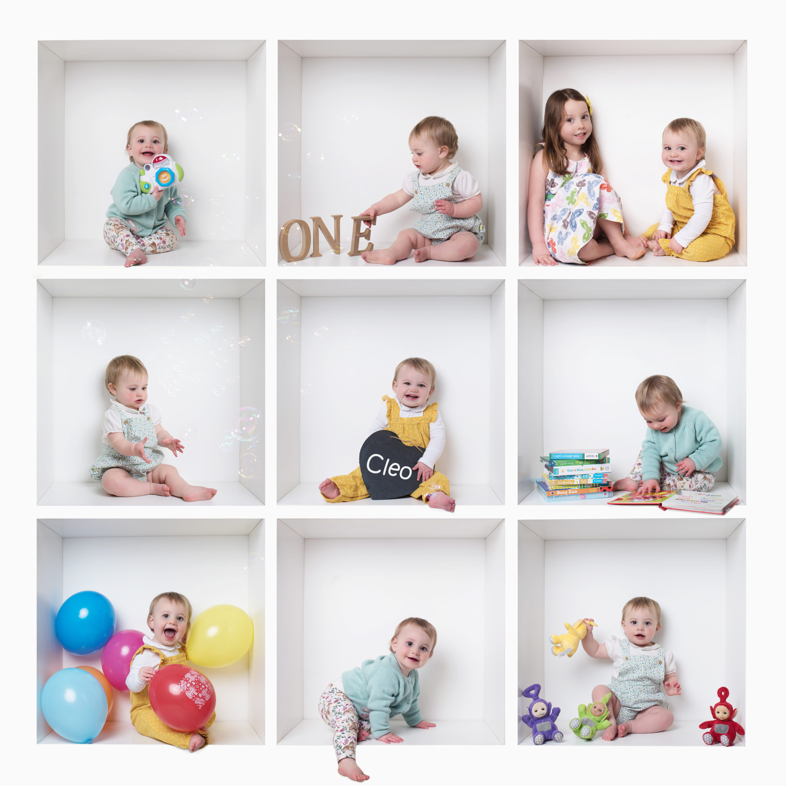 Baby girl colourful white box Birthday photoshoot in Wallingford