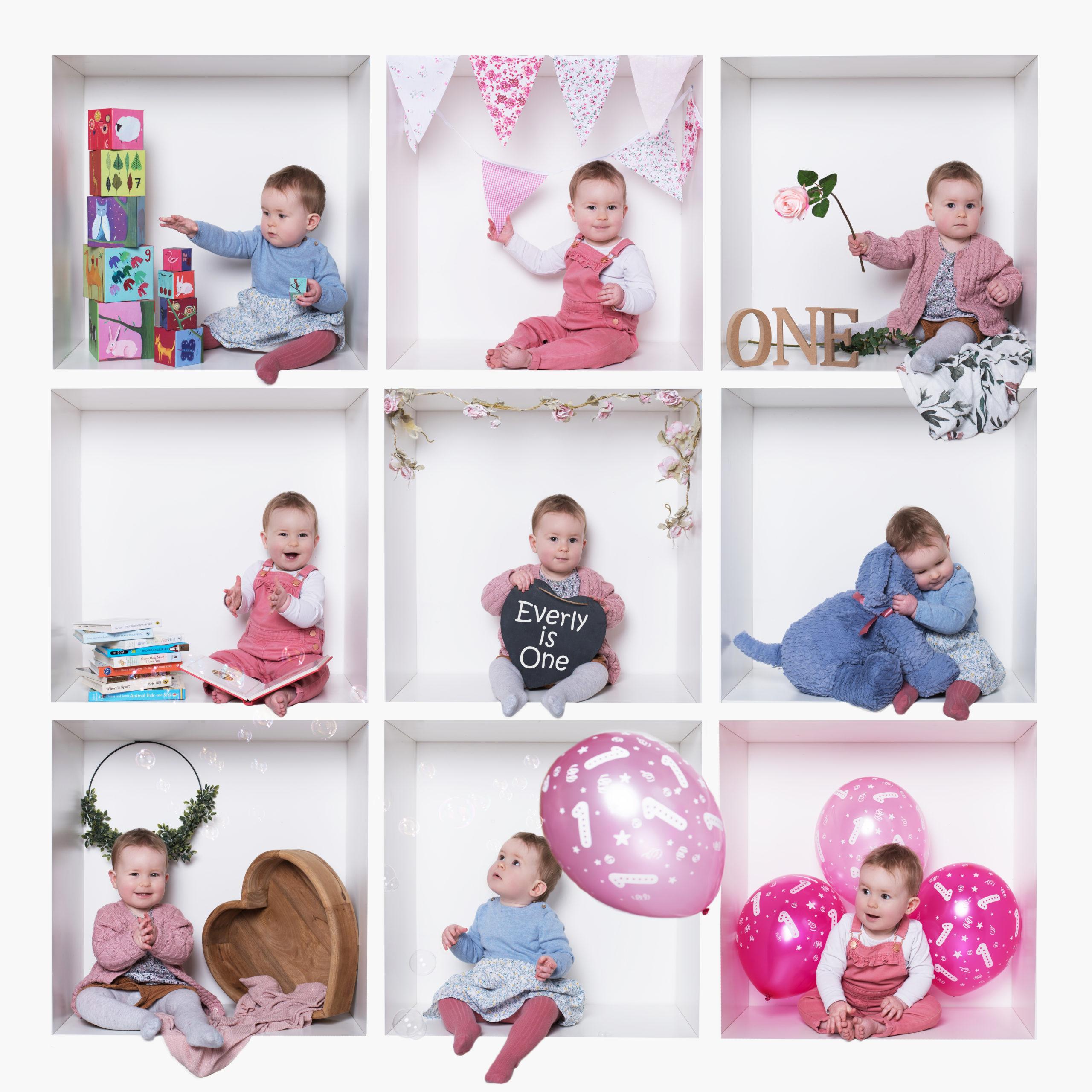 Baby girl in pink white box birthday photoshoot in Wallingford