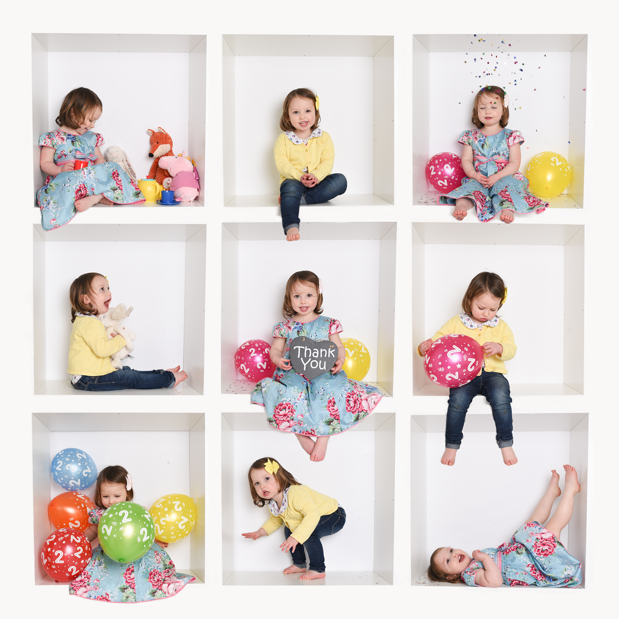 Toddler girl in Thank you colourful white box birthday photoshoot in Wallingford