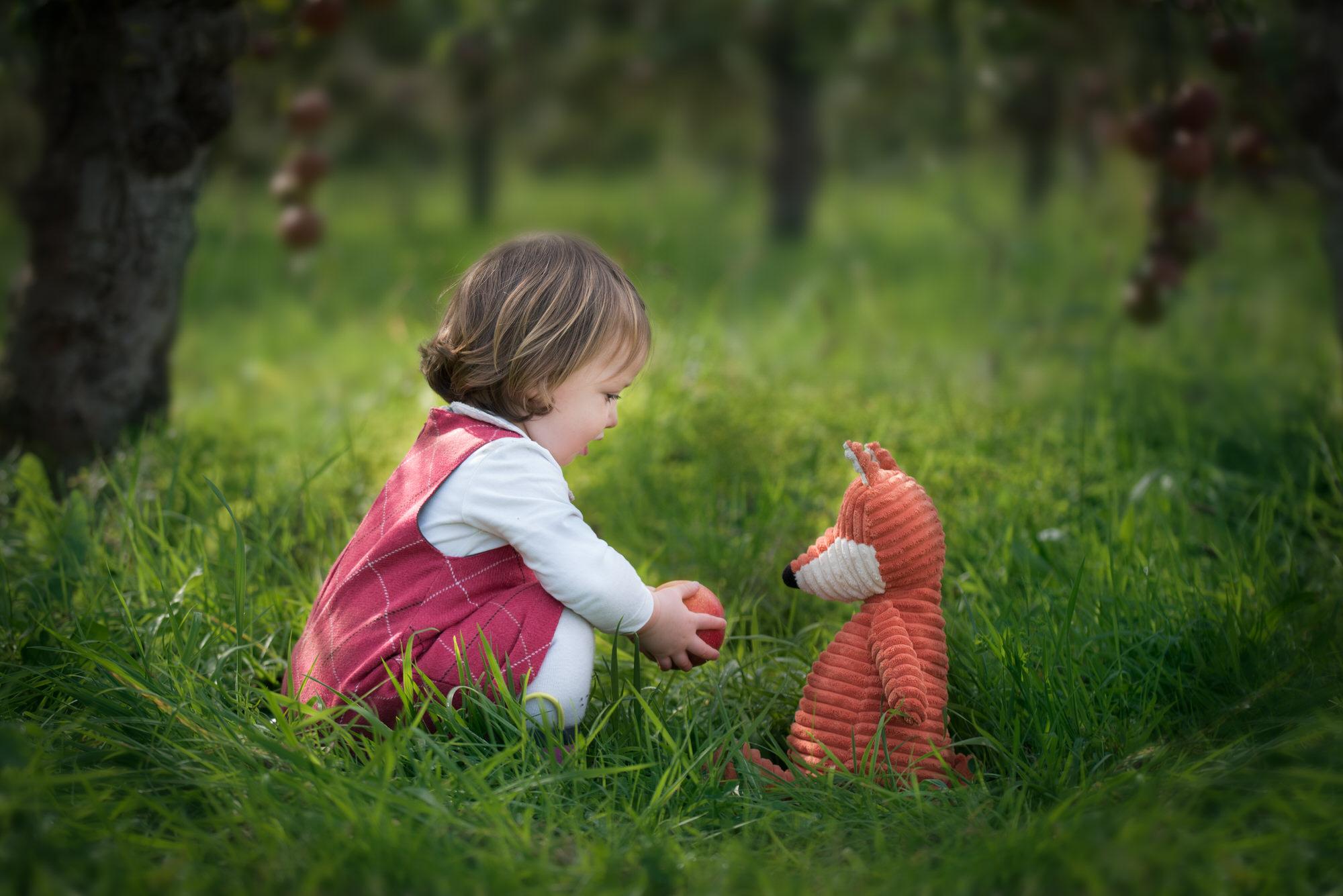 Toddler girl feeding apple to toy fox during photoshoot in Benson