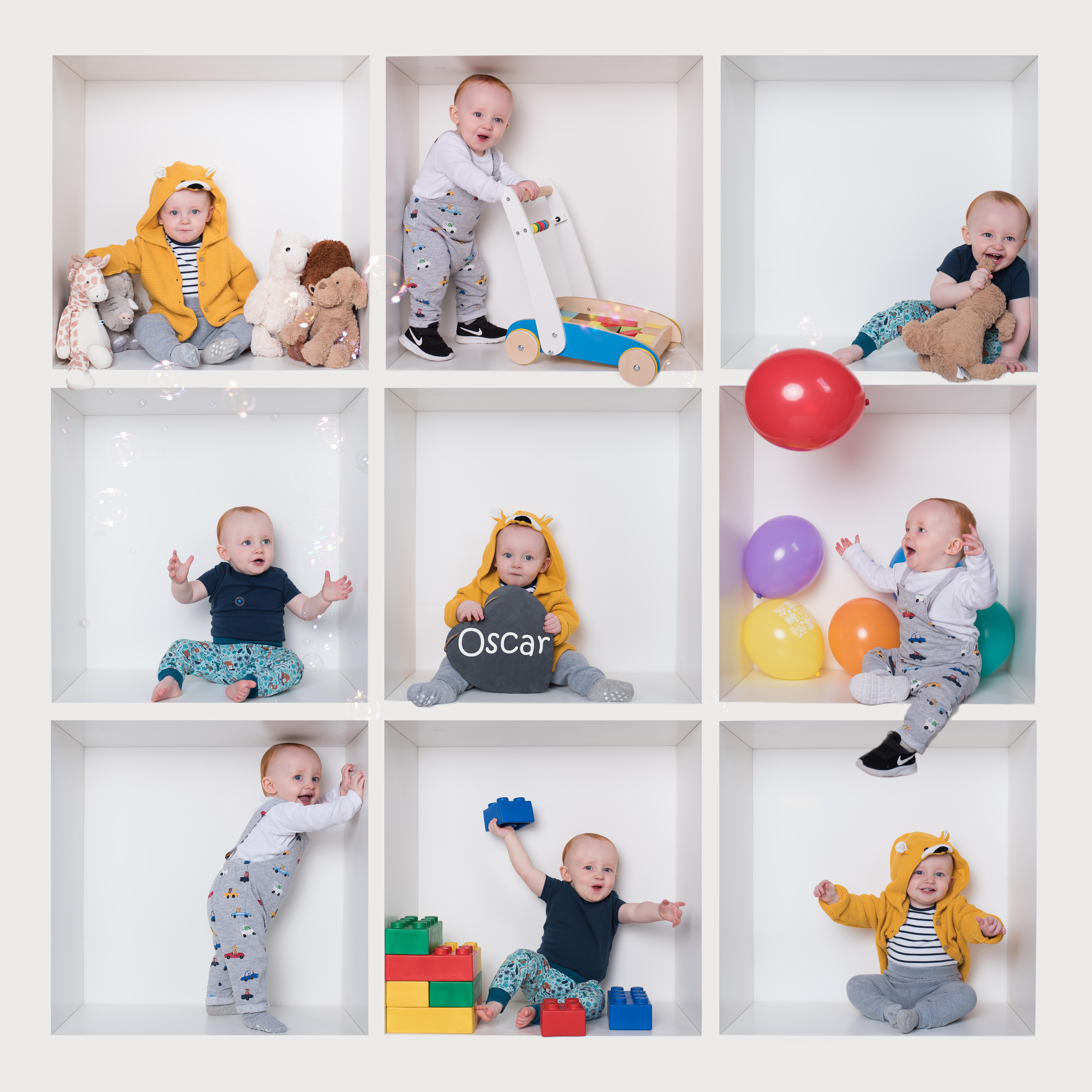 Baby boy colourful white box Birthday photoshoot in Wallingford