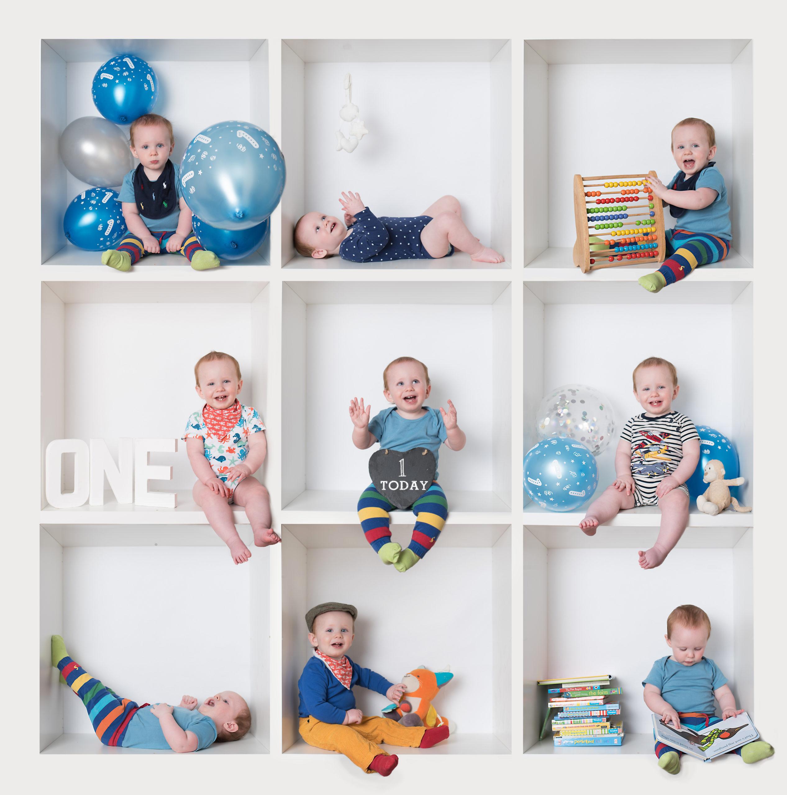 Baby boy in blue white box birthday photoshoot in Wallingford