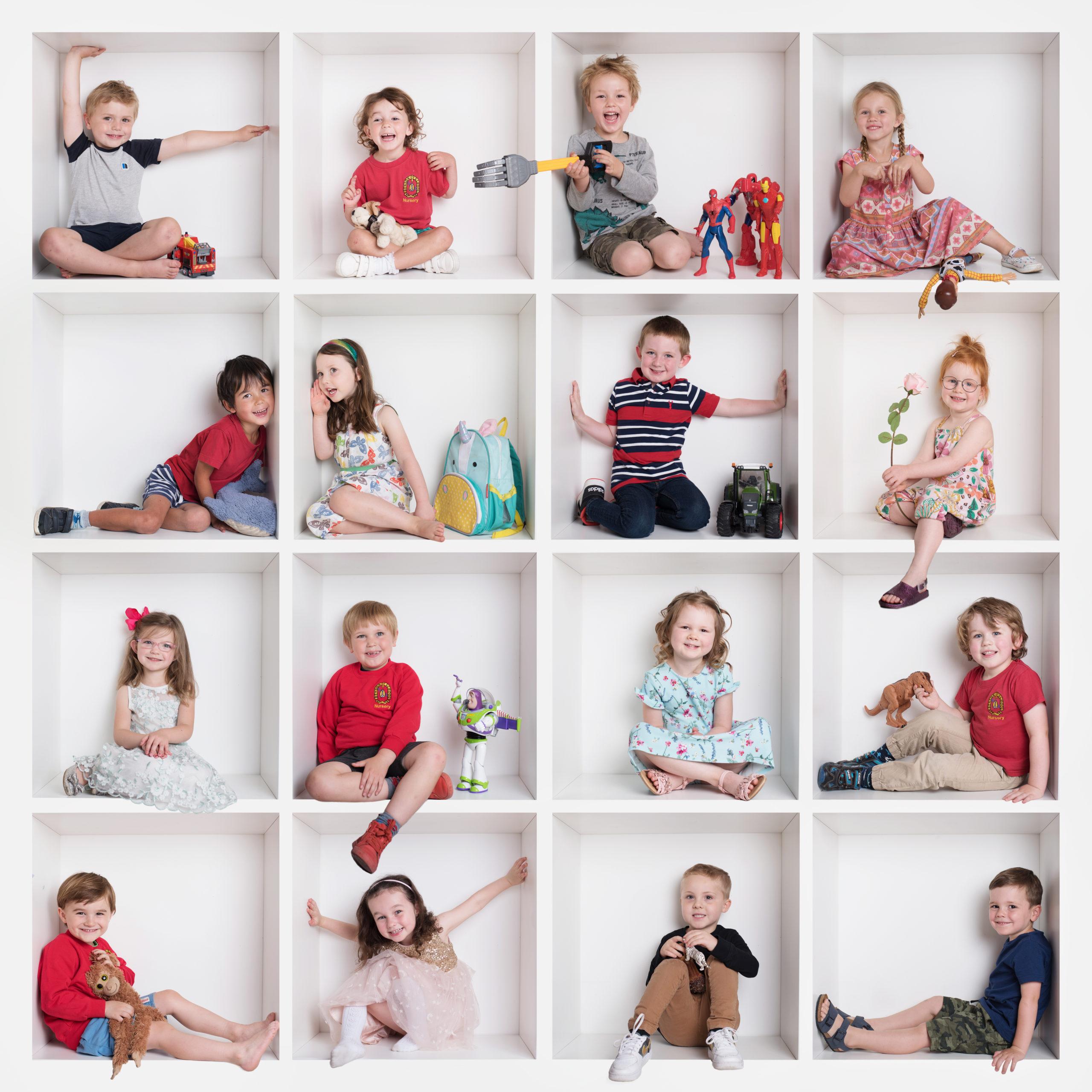 Preschool children in white box birthday photoshoot in Wallingford
